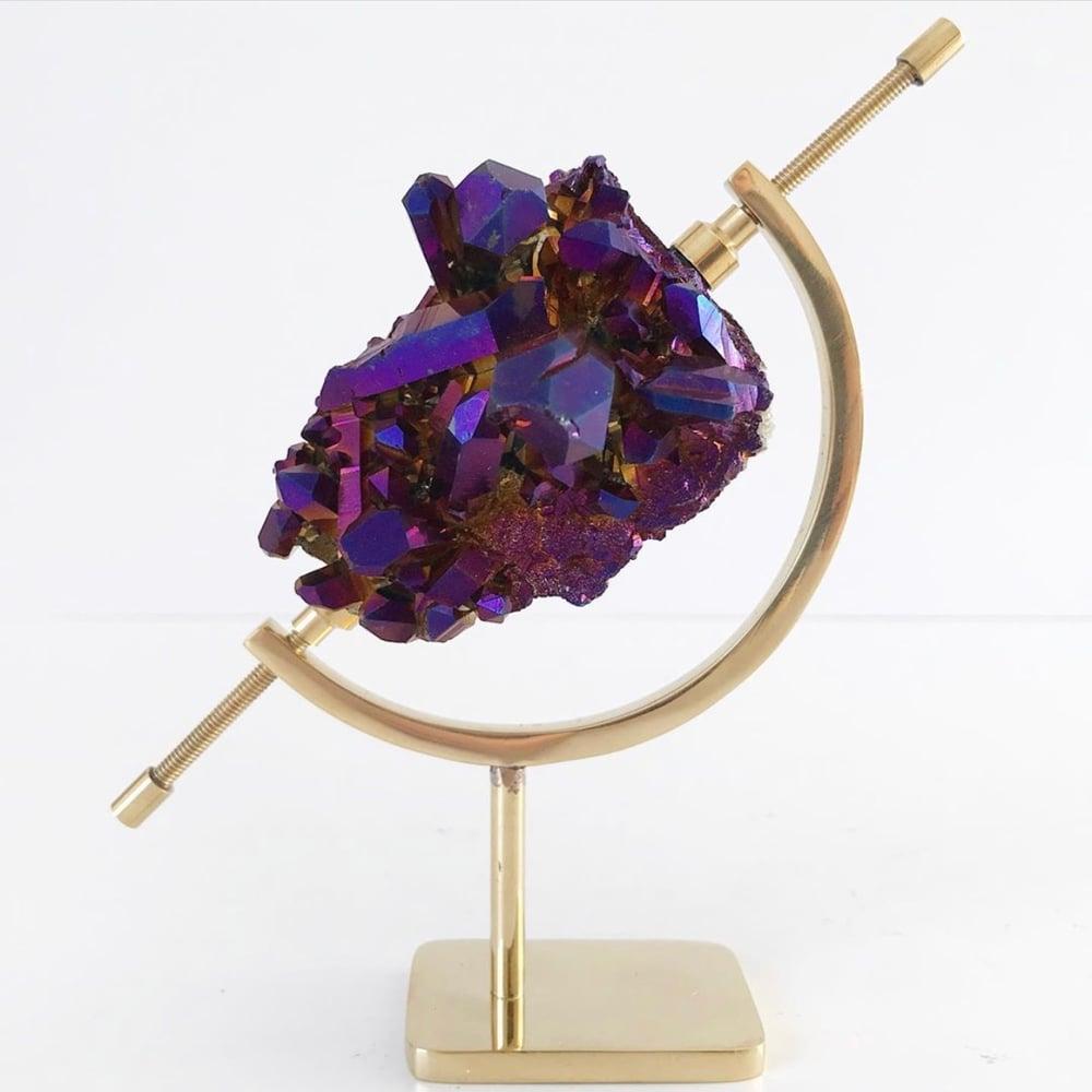 Image of Titanium Coated Quartz no.165 + Brass Arc Stand