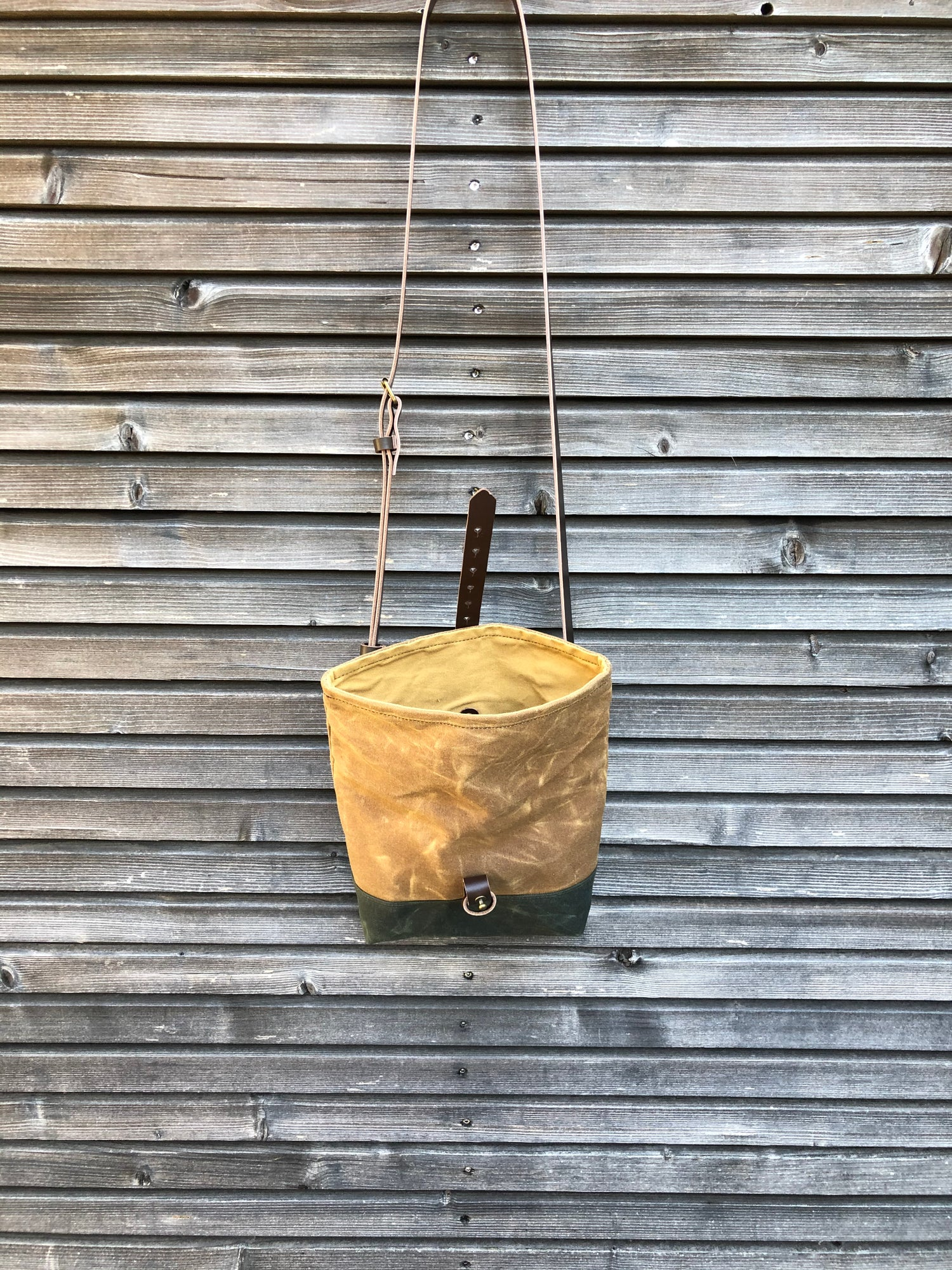 Image of Spice and forest green waxed canvas day bag / small messenger bag / canvas satchel