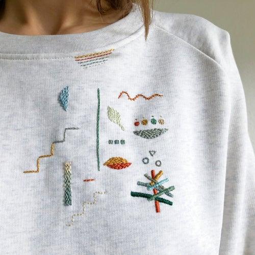 Image of Autumn shapes - original hand embroidery on 100% organic cotton sweatshirt, one of a kind