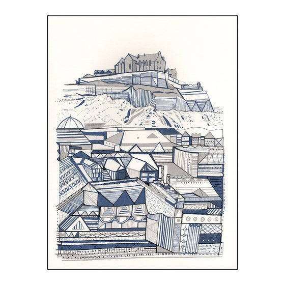 Image of Edinburgh blue and grey buildings screenprint