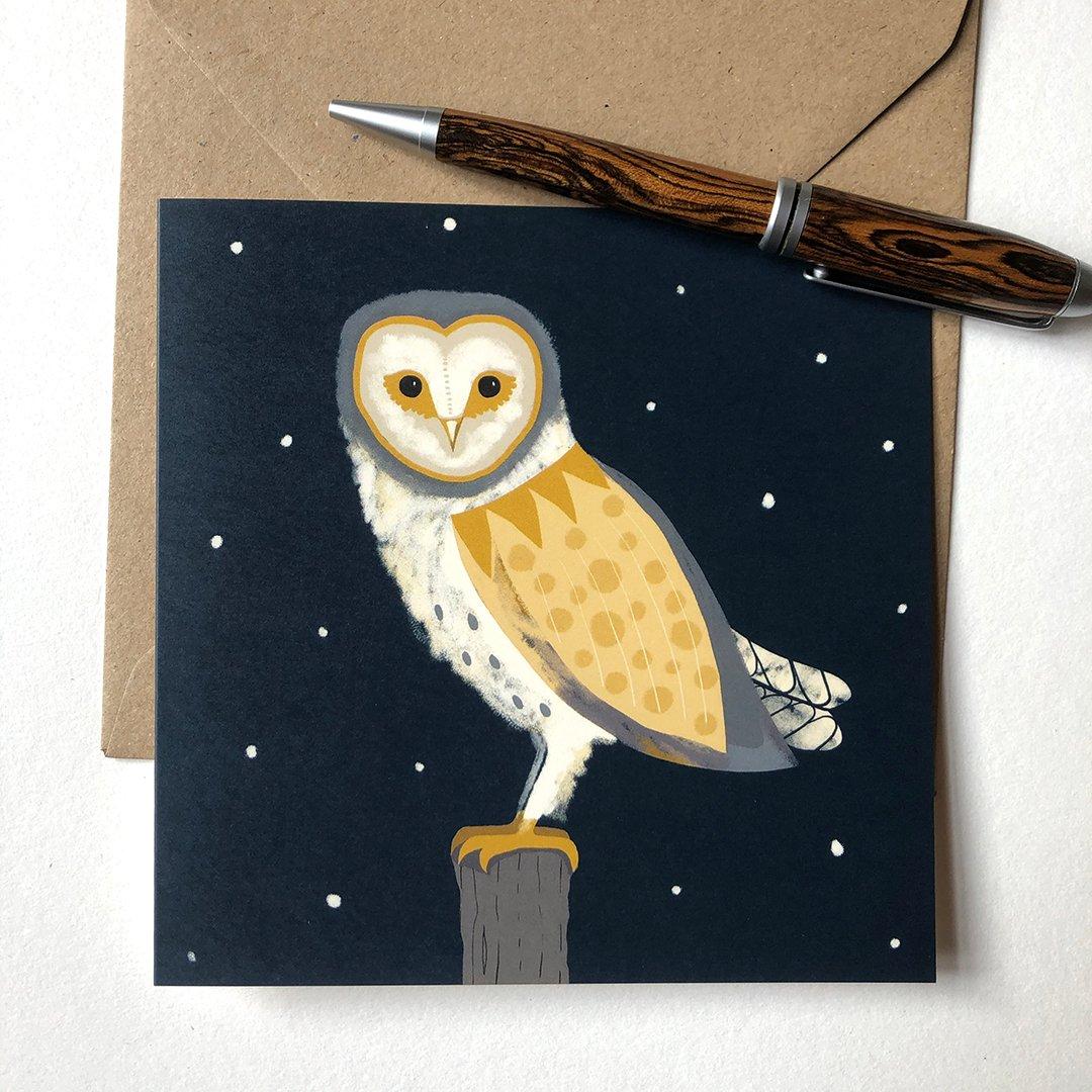 Seasonal Card - Barn Owl on a Snowy Eve