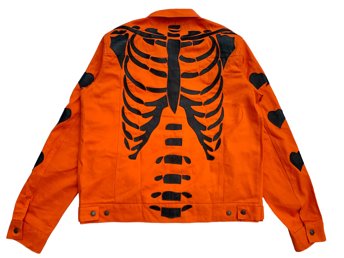 Image of ORANGE DENIM RIBCAGE BONE TRUCKER  JACKET