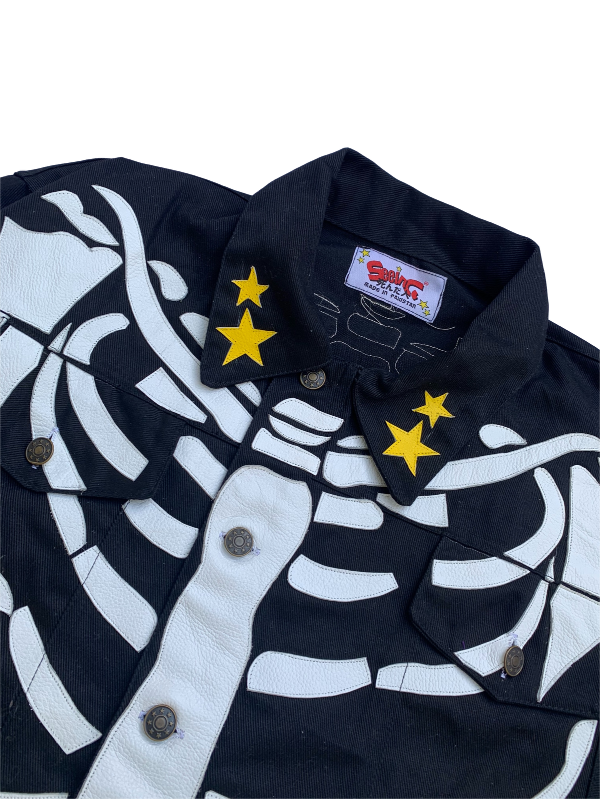 Image of BLACK DENIM RIBCAGE BONE TRUCKER  JACKET