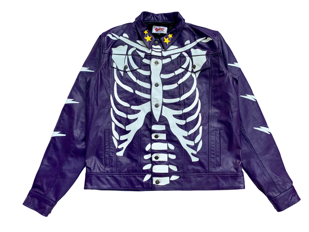 Image of  PURPLE LEATHER RIBCAGE BONE TRUCKER  JACKET