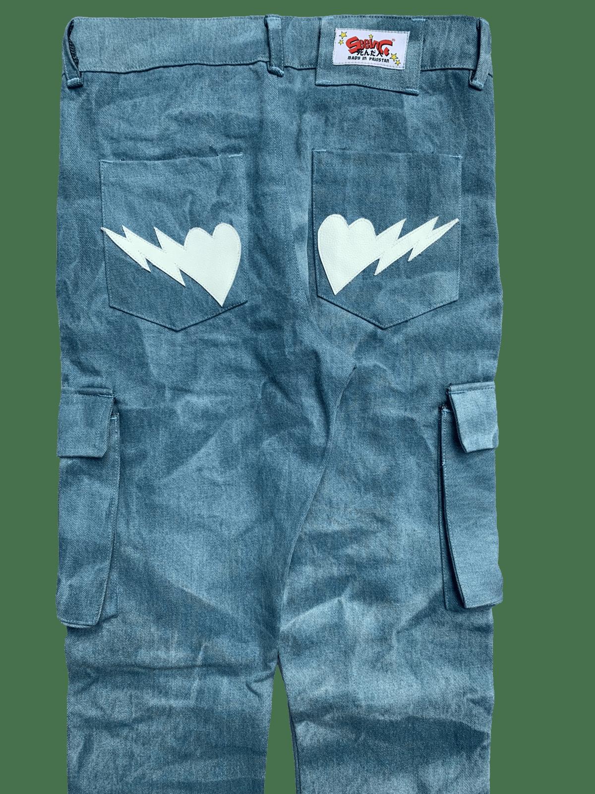 Image of VINTAGE MEDIUM BLUE SUPER SKINNY BONES CARGO JEANS
