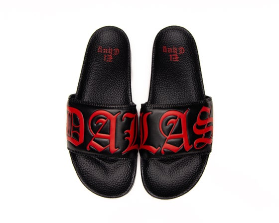 Image of DALLAS BLK/RED SLIDES (NOW SHIPPING)
