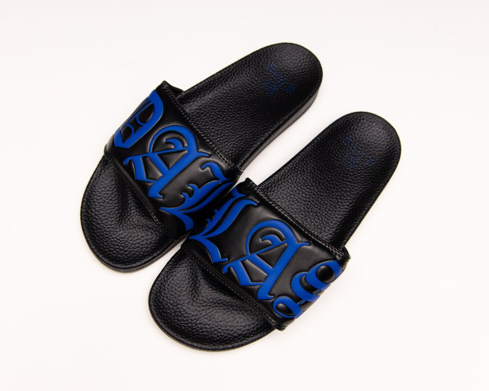 Image of DALLAS BLK/BLUE SLIDES (NOW SHIPPING)