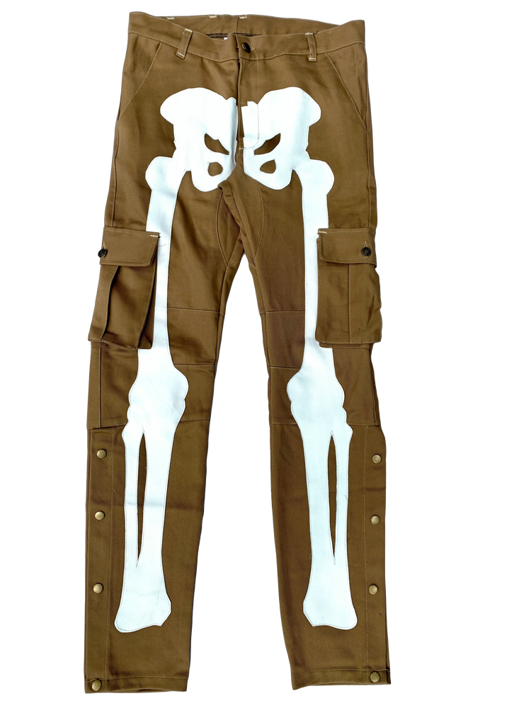 Image of TAN SNAP CARGO BONE PANTS