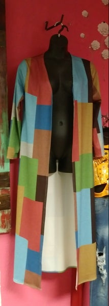 Image of MULTI COLORED TRENCH COAT SIDE SLIT