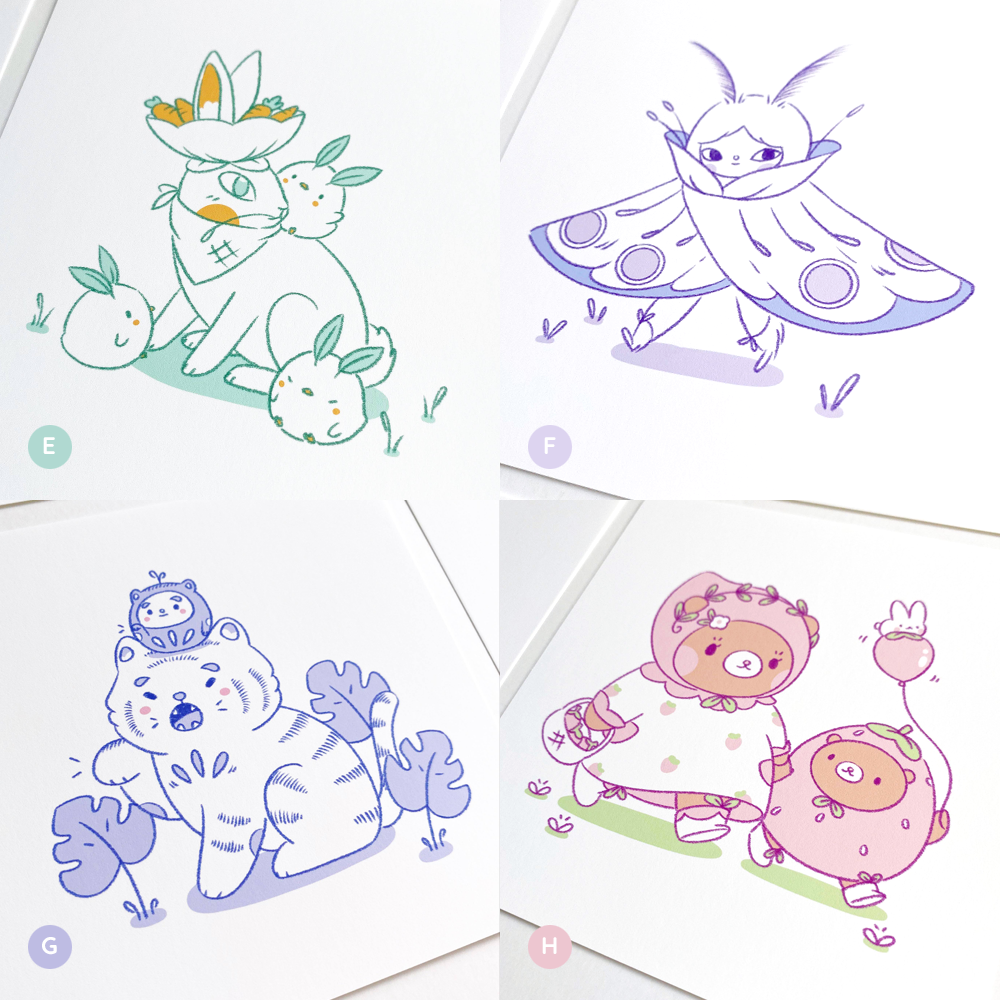 Image of Flora and Fauna Friends Mini Art Prints