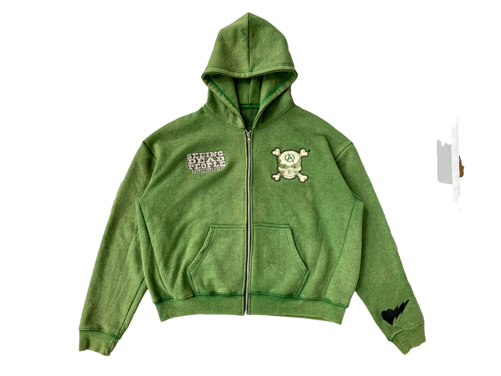 Image of OLIVE GREEN BATTLE INFANTRY ZIP-UP HOODIE