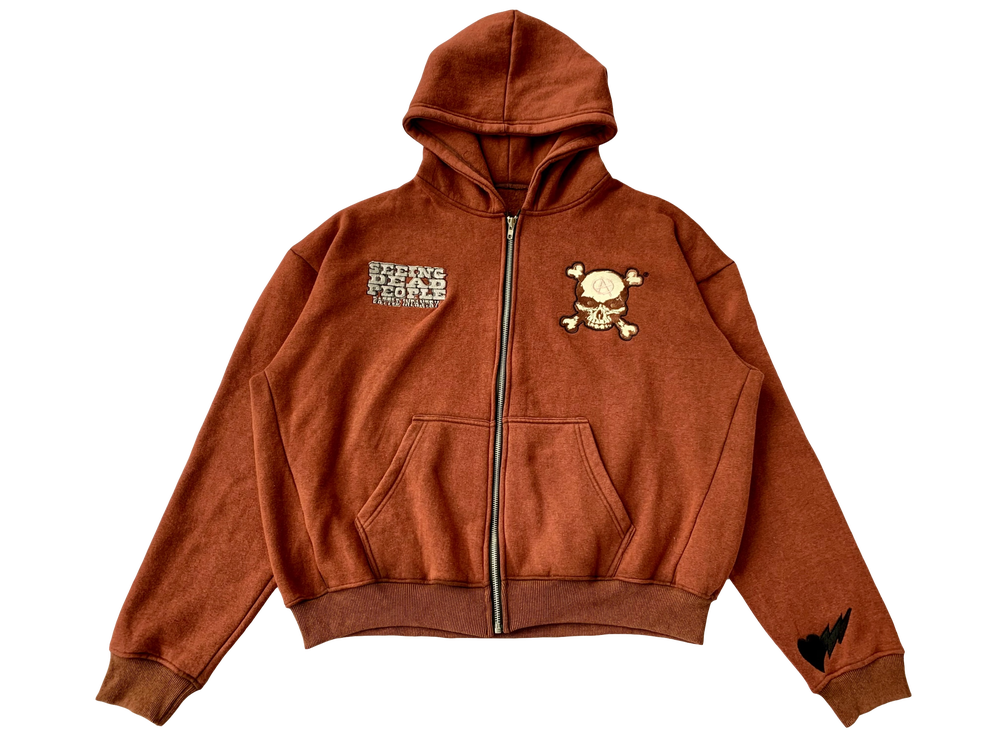 Image of RUST BROWN BATTLE INFANTRY ZIP-UP HOODIE