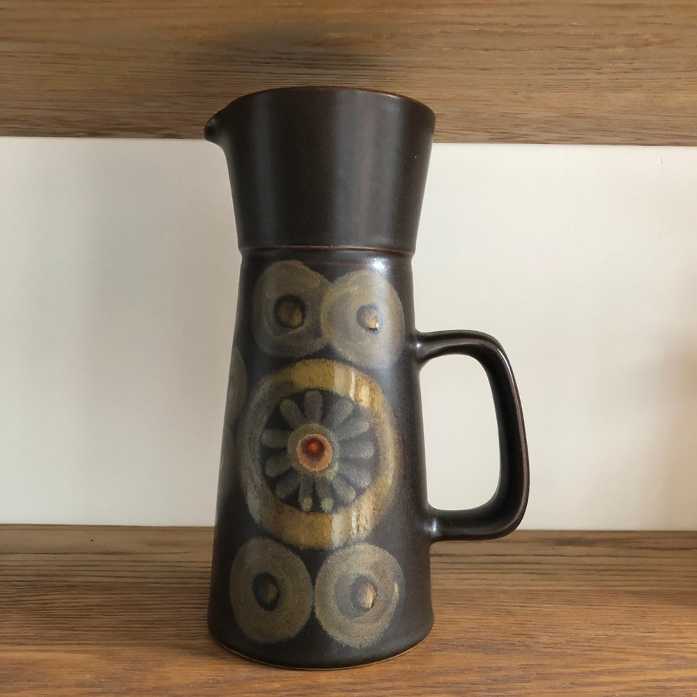 Image of DENBY ARABESQUE TALL JUG - RETRO POTTERY