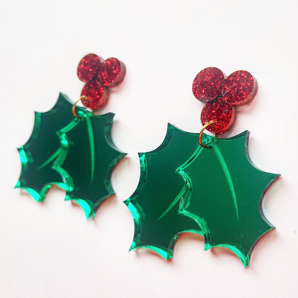 Image of Christmas Holly Earrings -PRE-ORDER