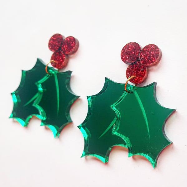 Image of Christmas Holly Earrings -PRE-ORDER