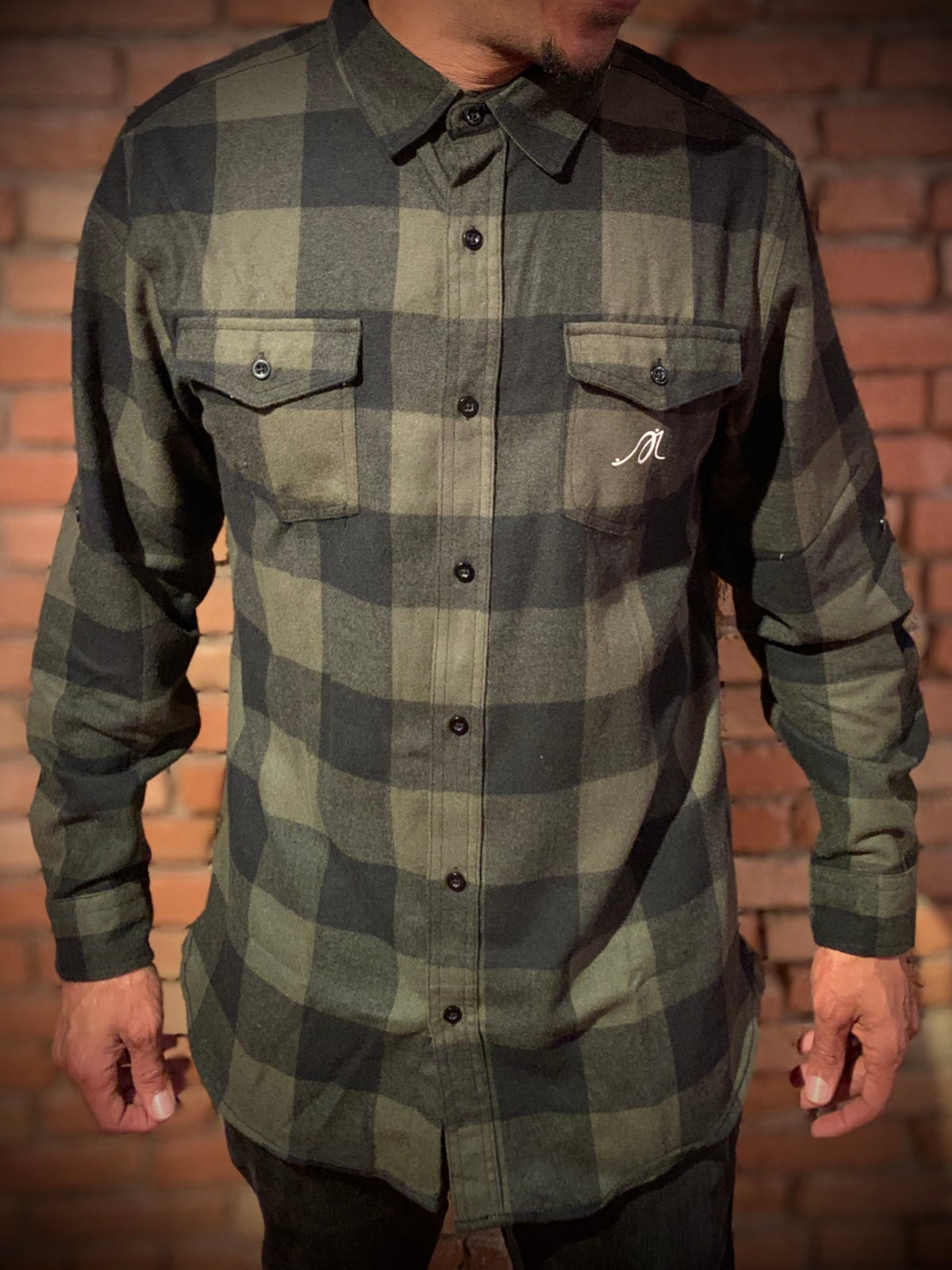 """Image of Green Lumberjack """"Love...period! Button Up"""