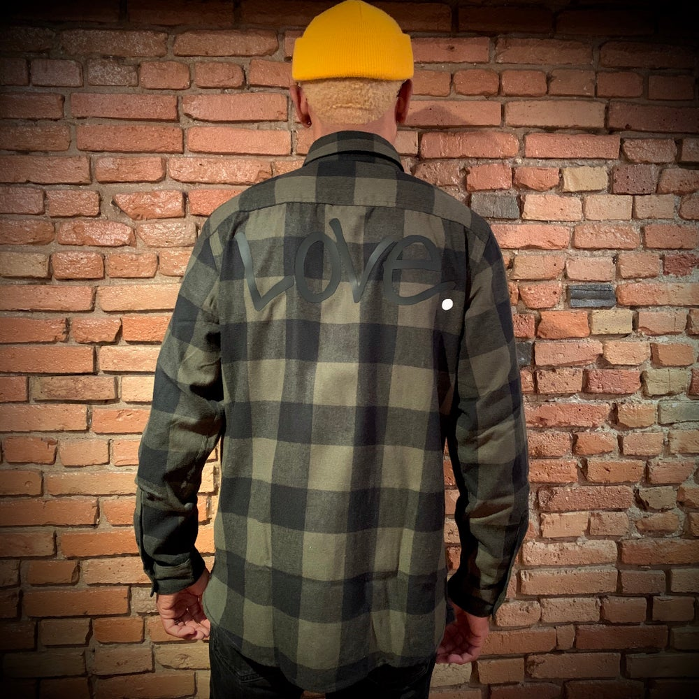 "Image of Green Lumberjack ""Love...period! Button Up"