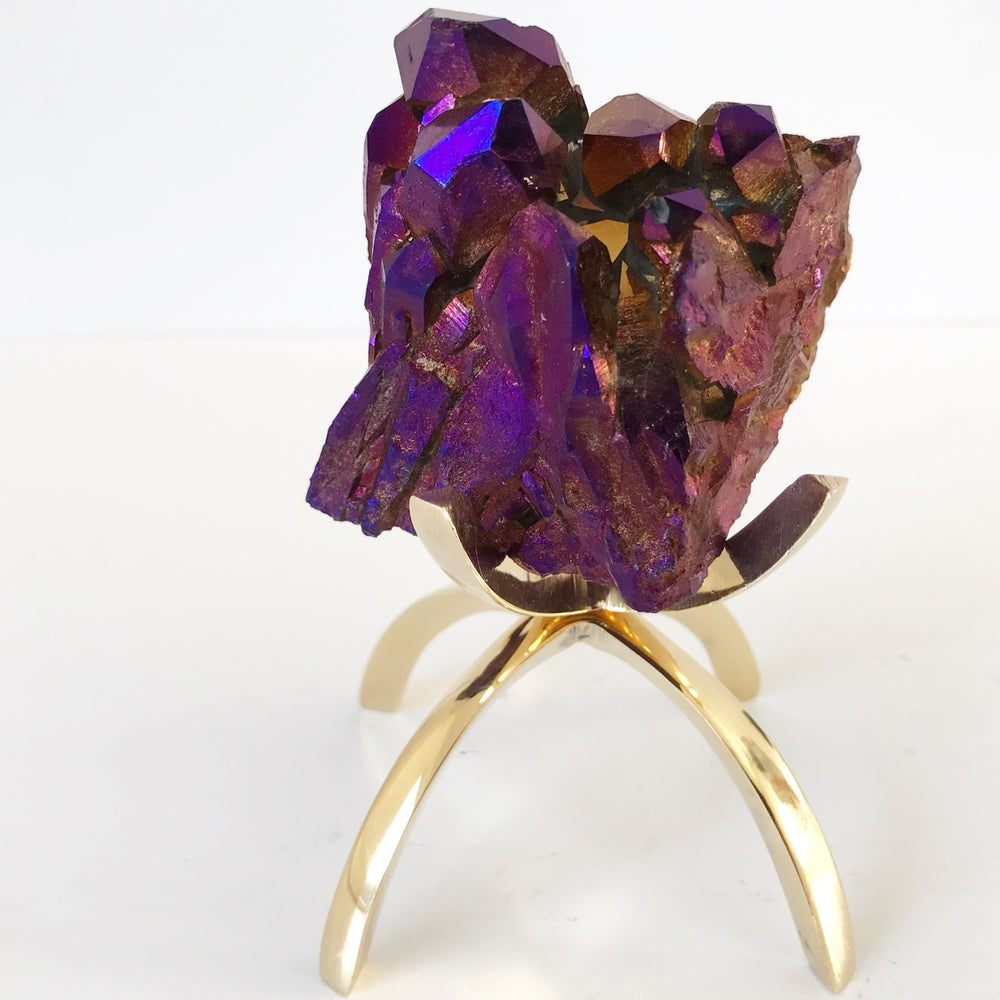Image of Titanium Coated Quartz no.163 + Brass Claw Stand