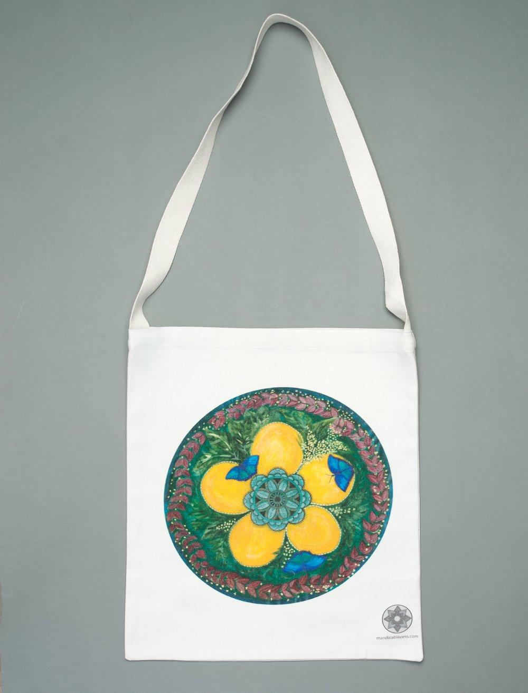 Image of Blue Butterflies mandala tote bag