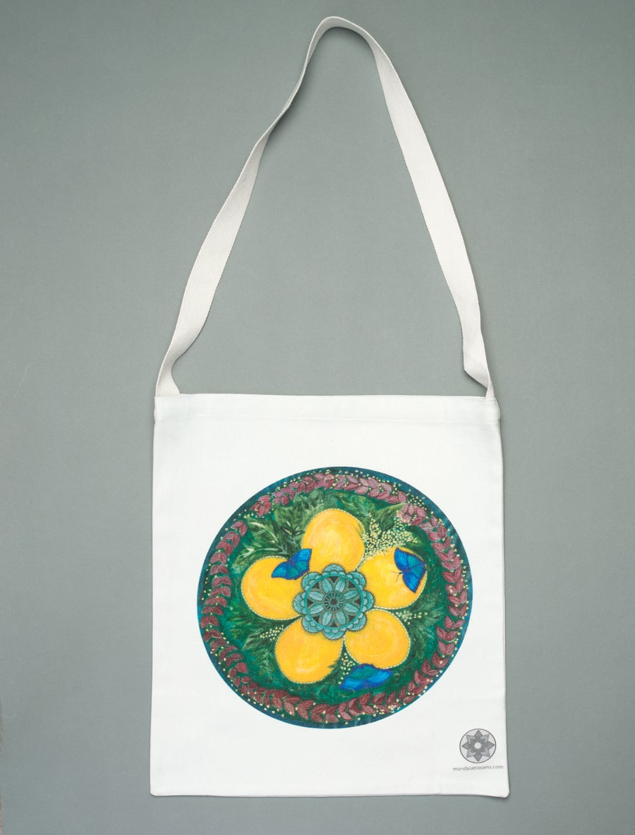 Image of Blue Butterflies mandala tote bag