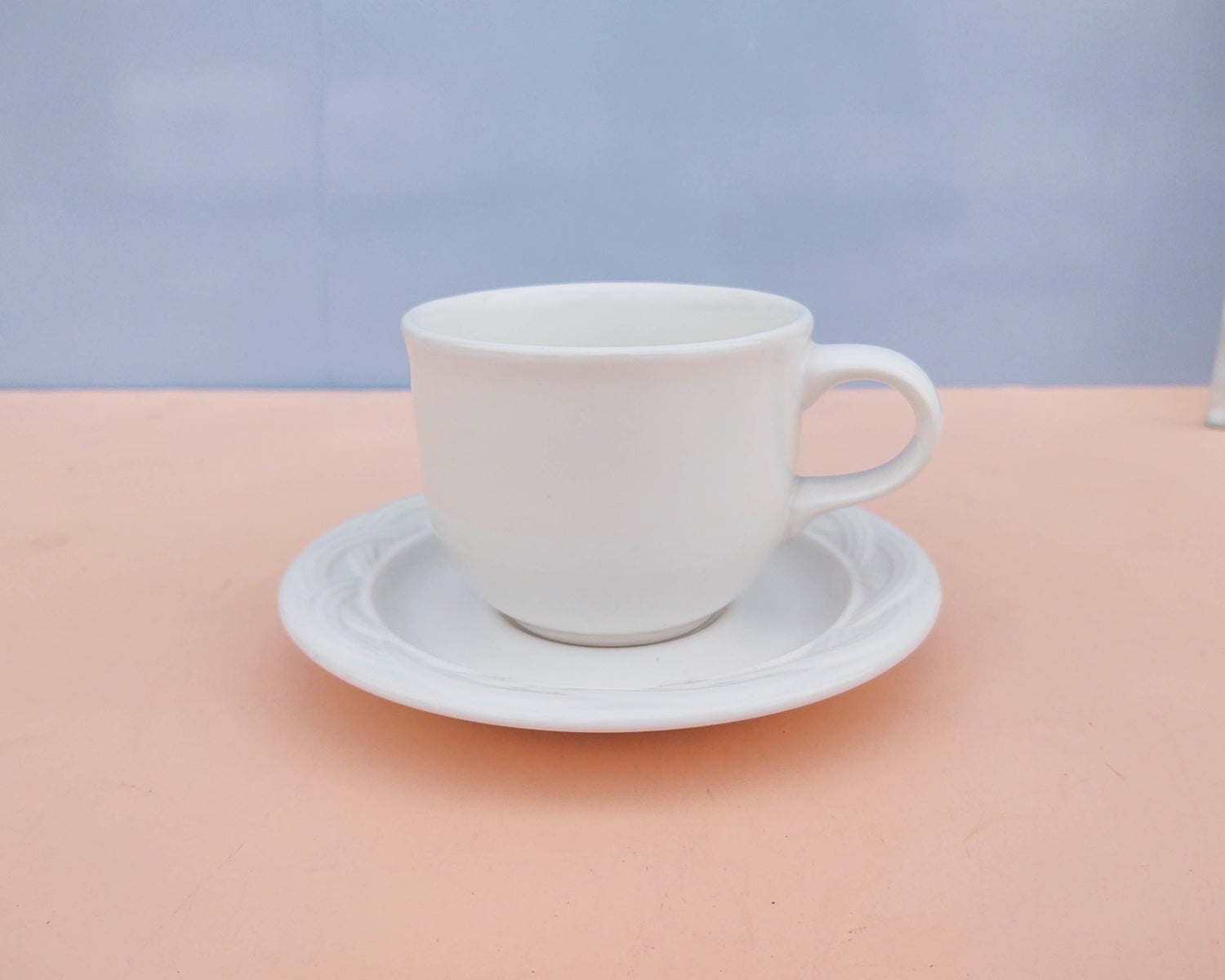 Image of Set of 4 White Ceramic Mugs + Saucers by Pfaltzgraff