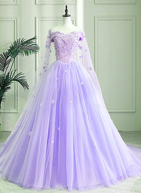 Charming Lavender Tulle Off Shoulder with Flower Formal Gown, Sweet 16 Dress