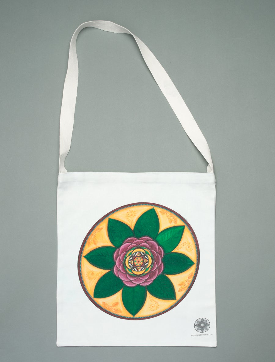 Image of Damask Rose mandala tote bag