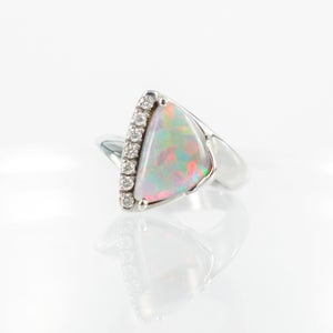 Image of Opal and diamond dress ring. pj5131