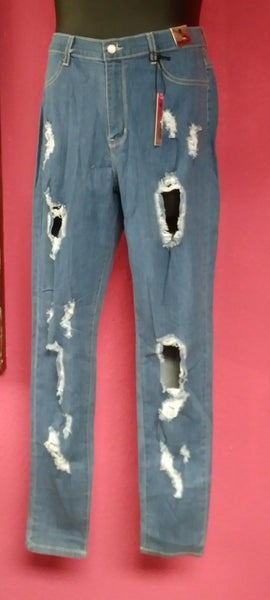 Image of Plus Size High Rise Medium Wash Cut Out Destroyed 1882