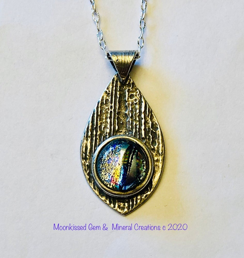 Image of Icicle Dichroic Glass Fine Silver Pendant