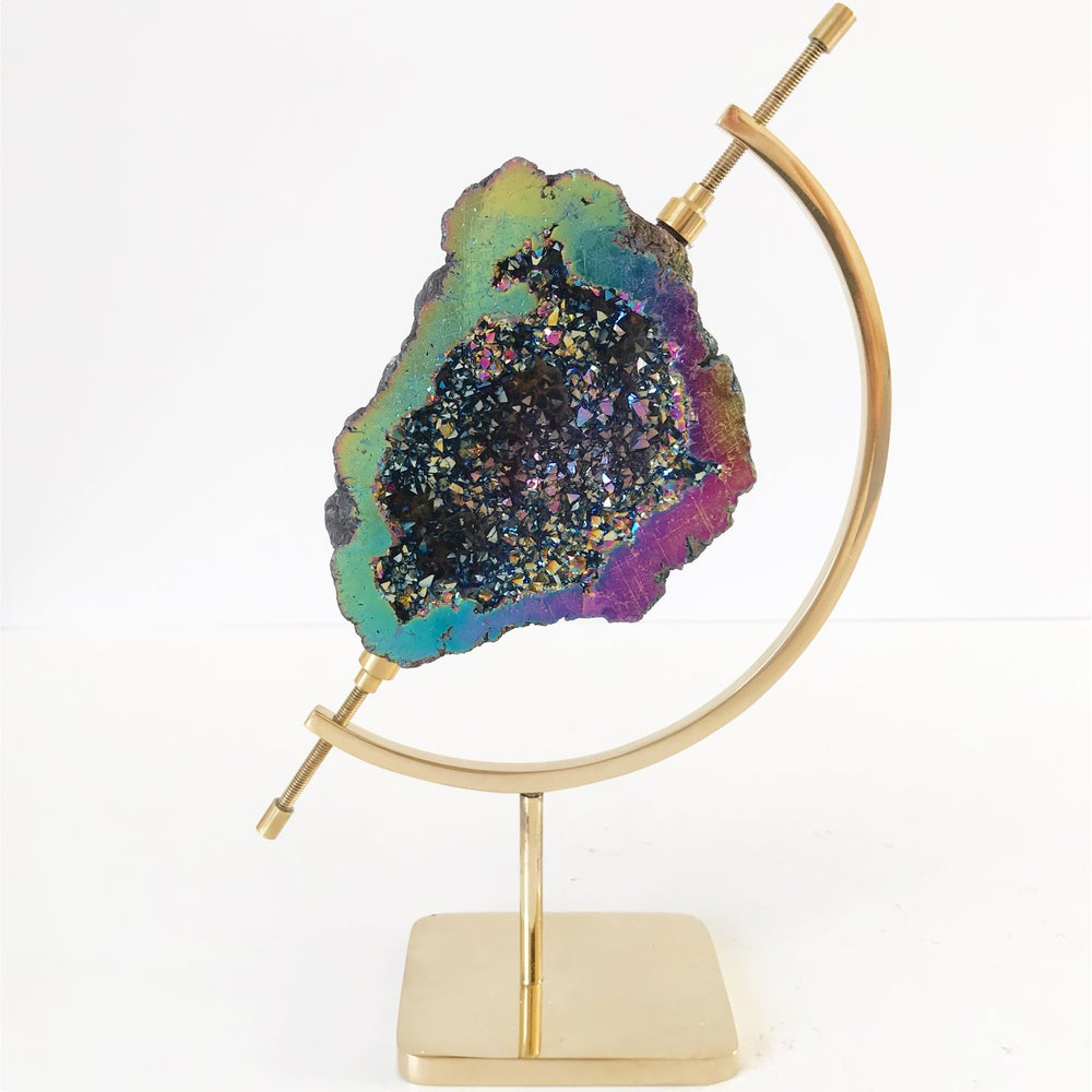 Image of Titanium Coated Calcite no.135 + Brass Arc Stand