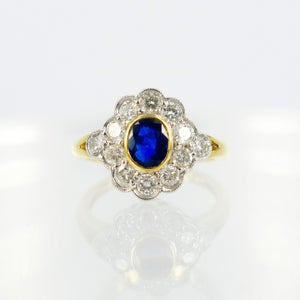 Image of 18ct yellow and white gold sapphire dress ring. Pj9631
