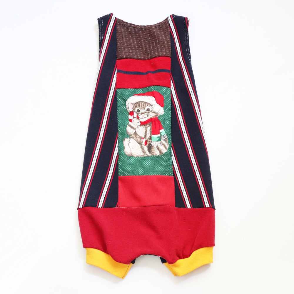 Image of christmas cat kitty xmas holiday 5/6 pieced romper courtneycourtney patchwork shortalls shorts suit