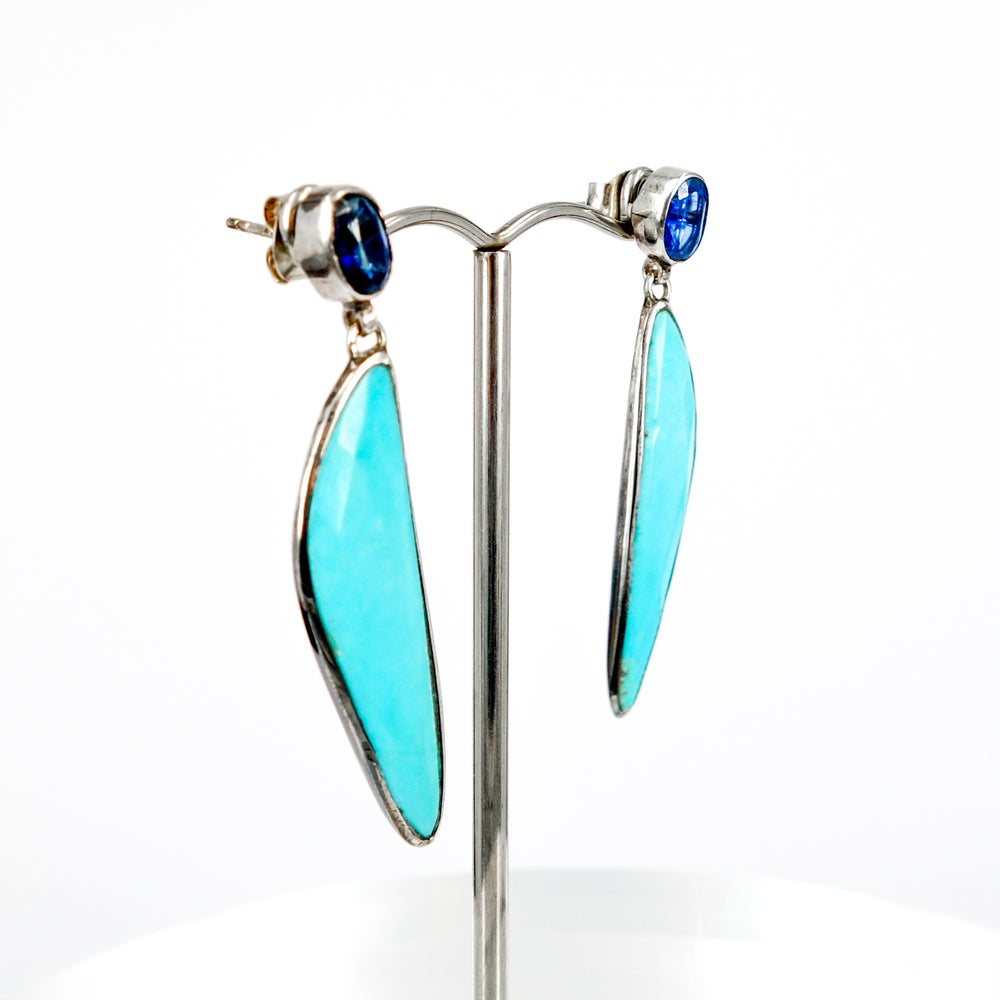 Image of Sterling silver Aztec style turquoise and topaz drop earrings.