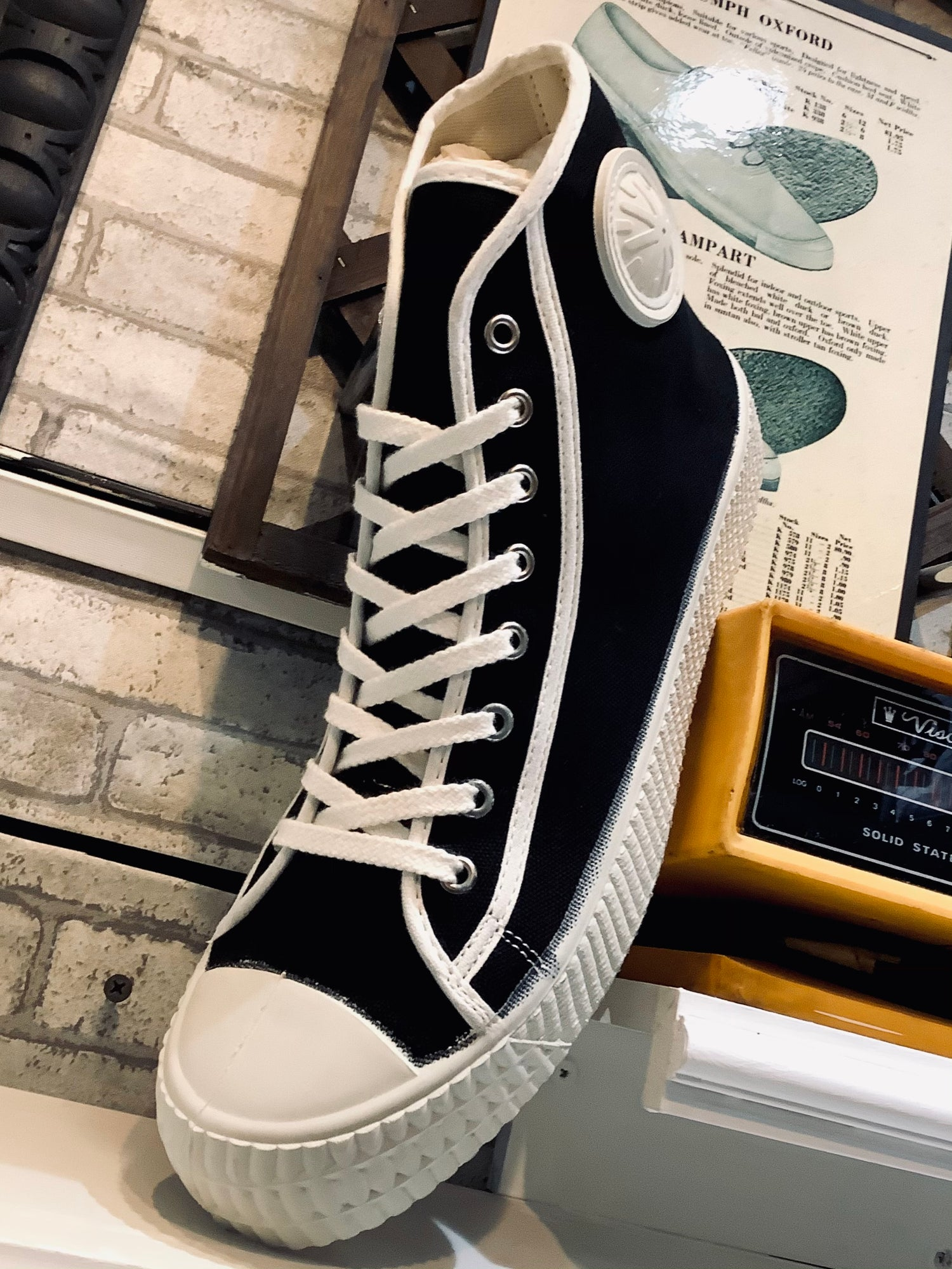 Image of ZDA military hi top black and white sneaker shoes made in Slovakia