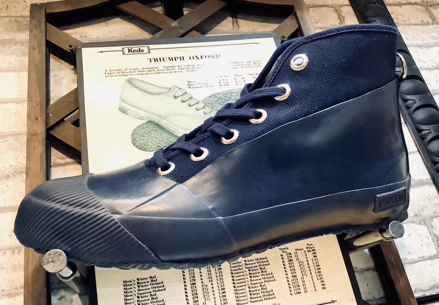 Image of Novesta Rubber sneaker hi navy sneaker shoes made in Slovakia
