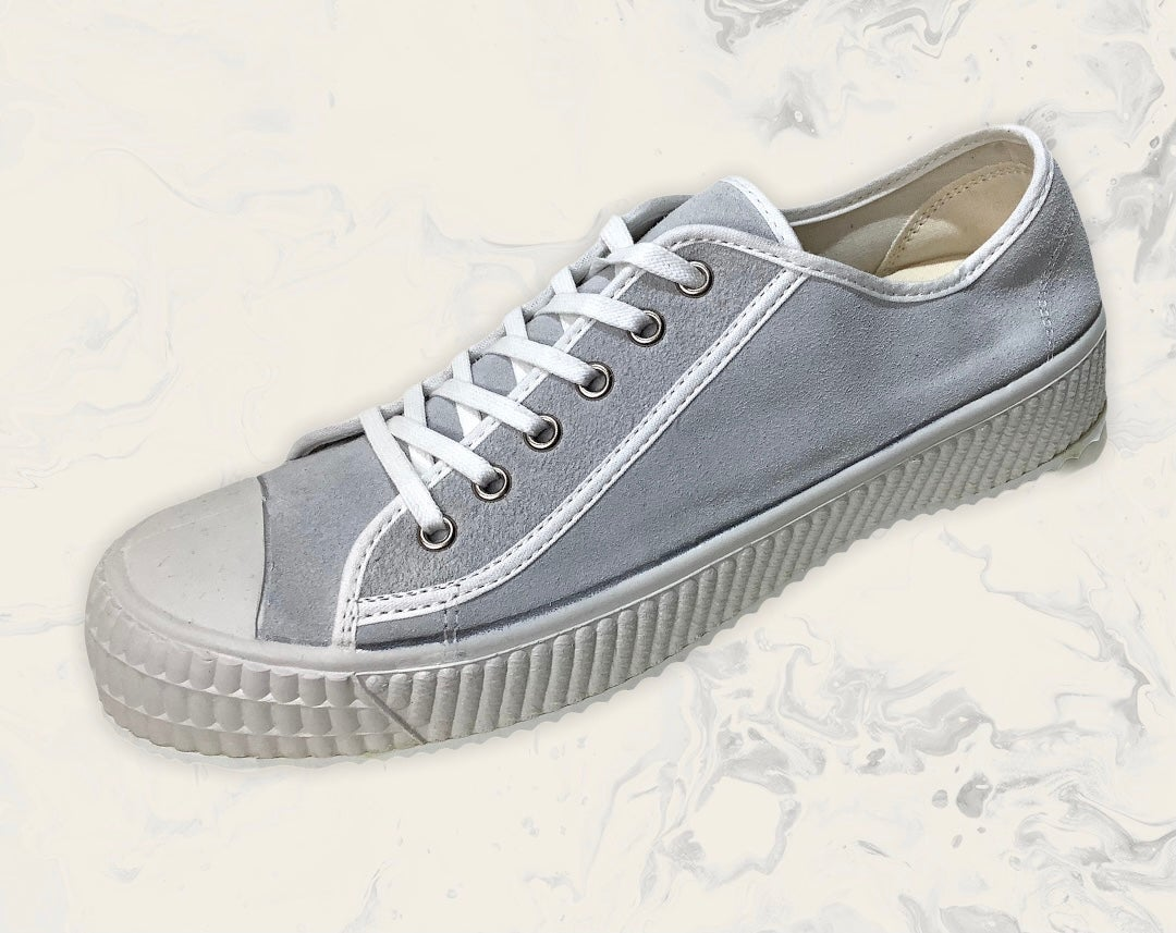 Image of ZDA suede lo top grey sneaker shoes made in Slovakia