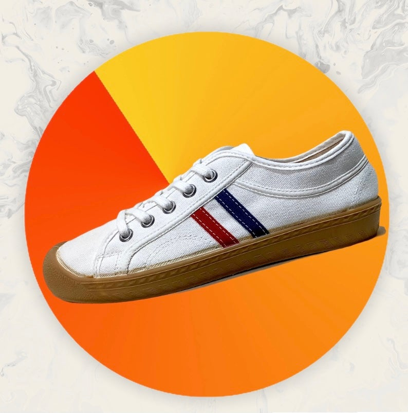 Image of Inn-stant canvas lo white red blue stripes sneaker shoes made in Slovakia