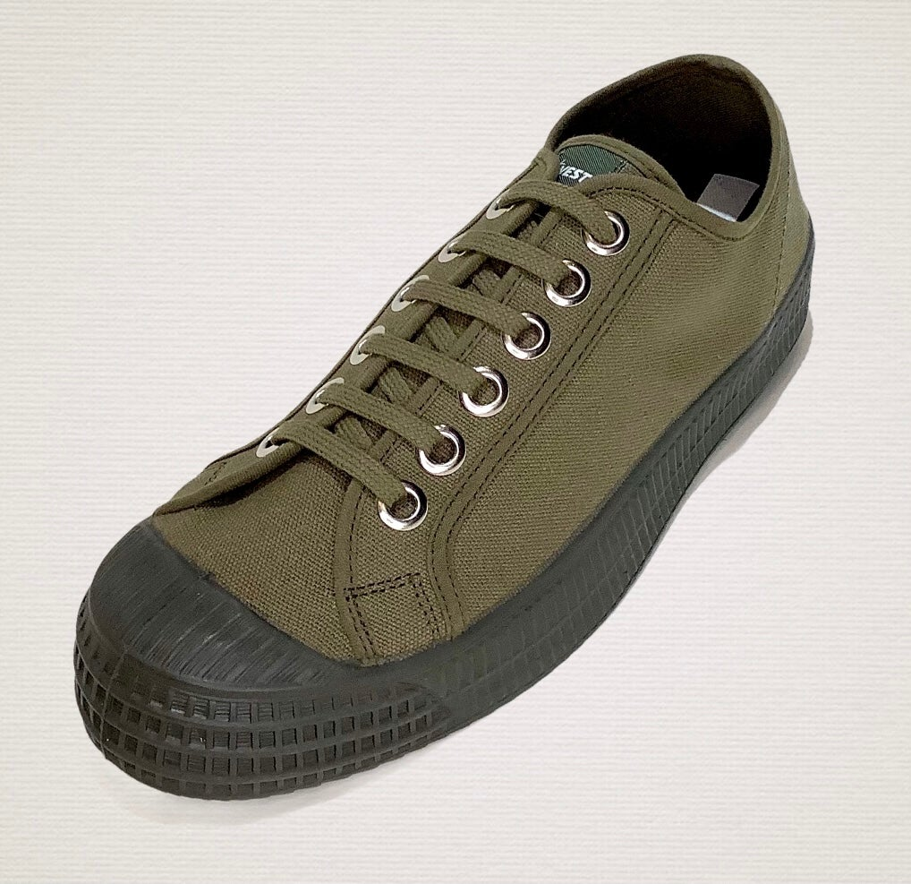 Image of Novesta master lo military green canvas mono tone sneaker shoes made in Slovakia
