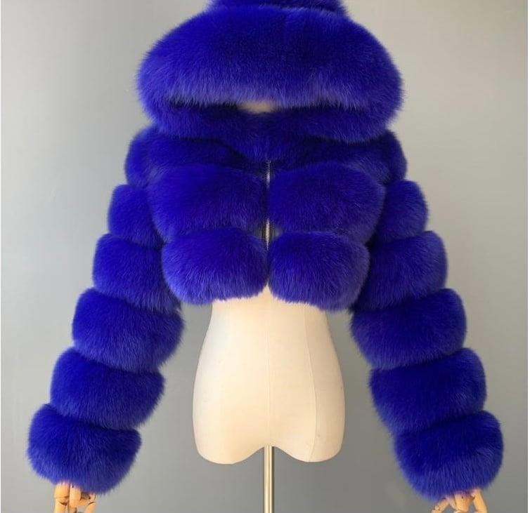 """Image of """"Patra"""" Faux Fur Crop Jacket"""