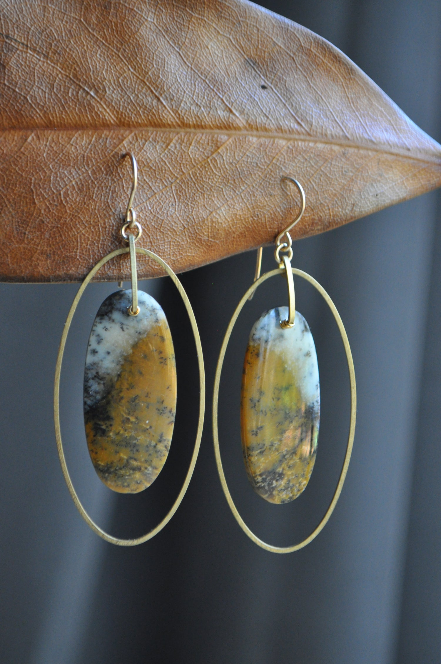Image of One of a Kind Arborization Opal Oval Hoop Dangles