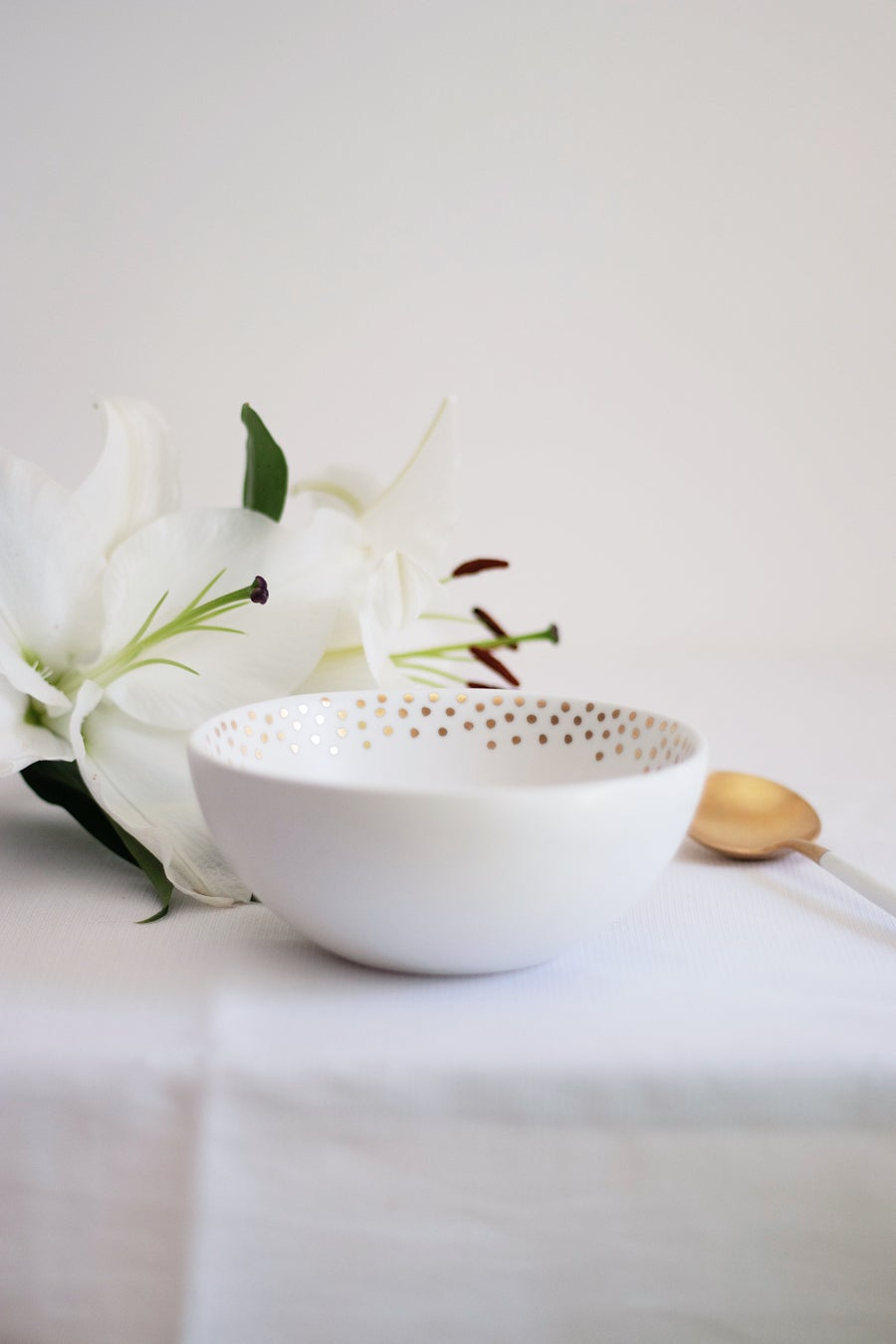 Image of Small Bowl with gold Dots