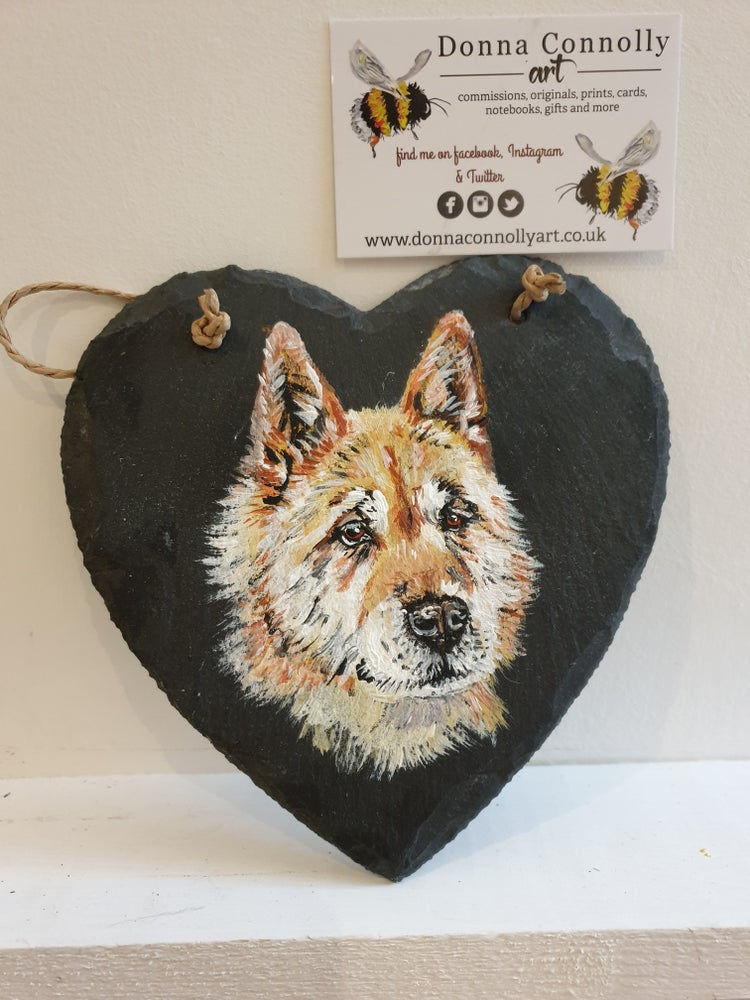 Image of Pet Portrait Commission Slate Heart (Single)