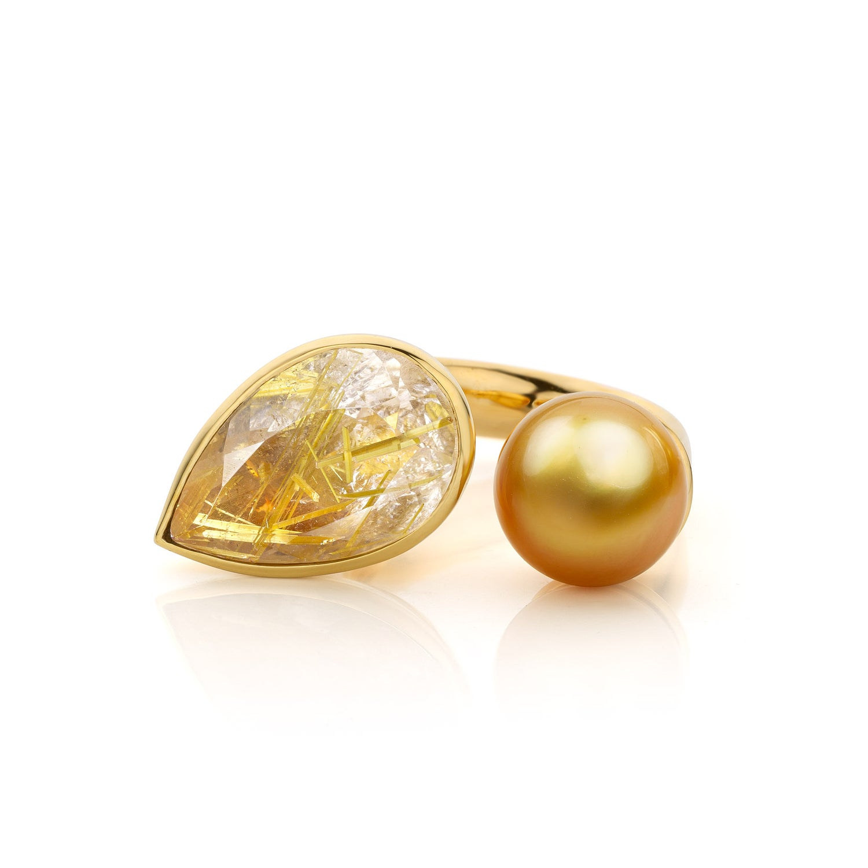 Image of ring goud, rutielkwarts, Zuidzee parel - coctailring gold, rutilated quartz, Southsea pearl