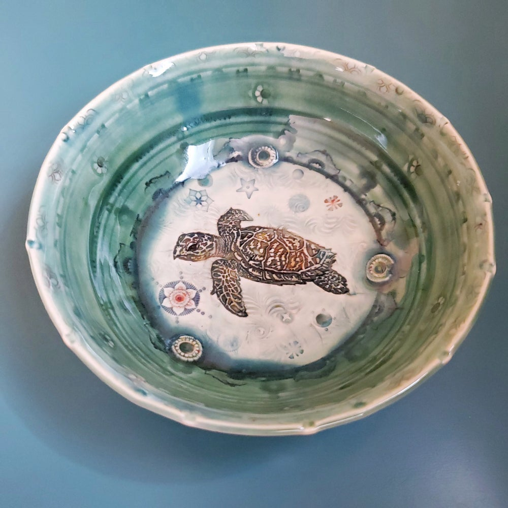 Image of Sea Turtle  Porcelain Bowl
