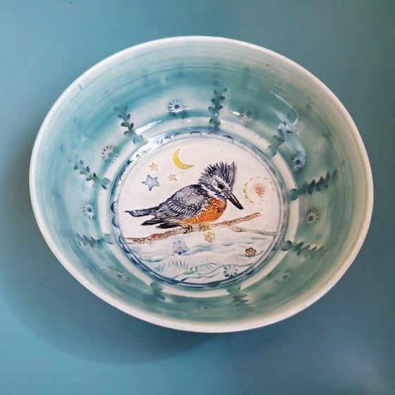 Image of Porcelain Kingfisher Crescent Moon Bowl
