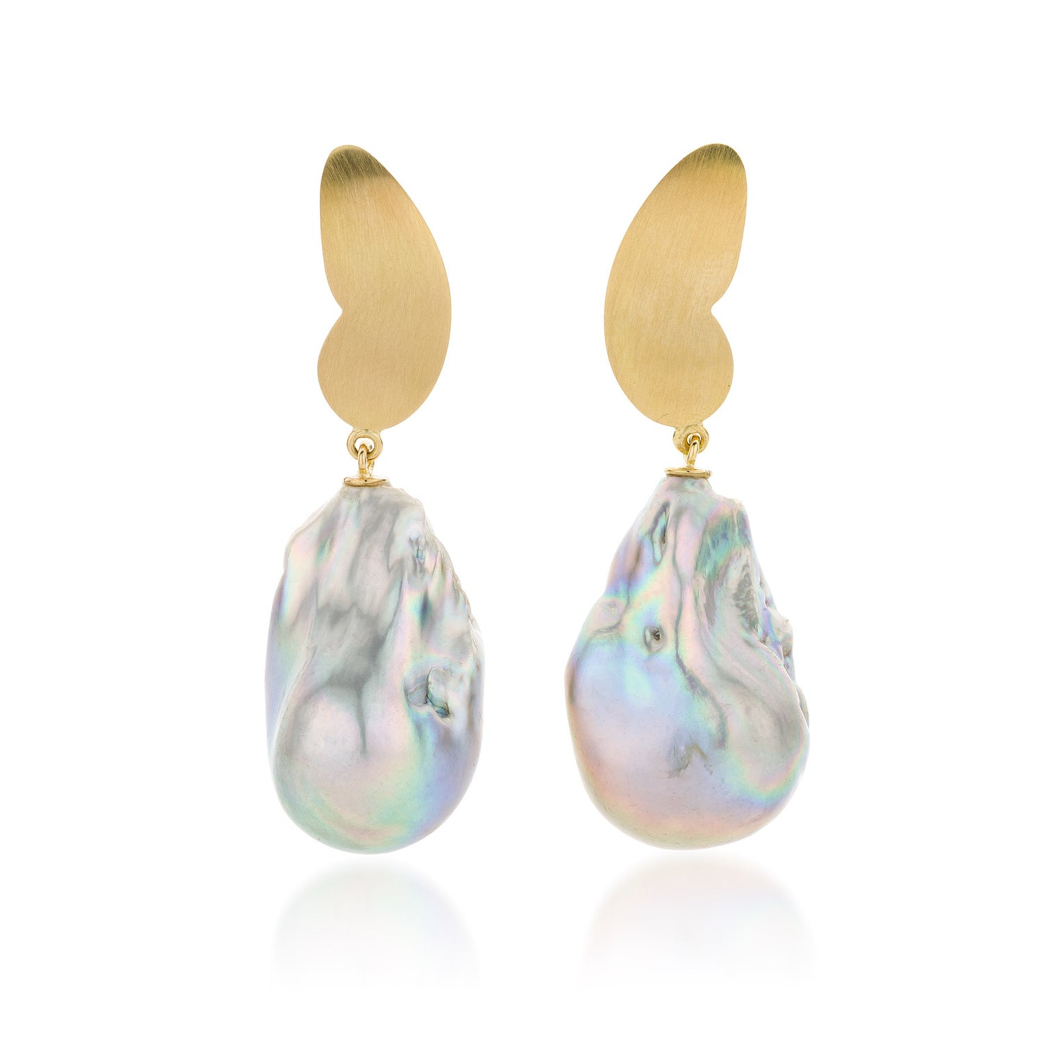 Image of  'Icons'  oorjuwelen in goud en barokparels / 'Icons' butterfly earrings in gold and baroque pearls