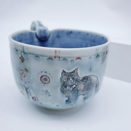Image of Handpainted Norwegian Kitty Porcelain Mug