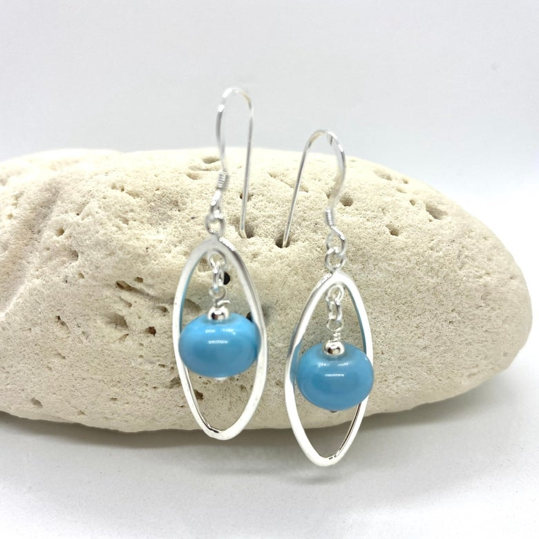 Image of Light Opaque Turquoise Oval Earrings