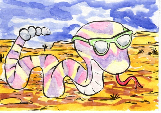 """Image of """"Desert Snake w/Shades"""" original 3x5 collaboration watercolor painting by Dan P.  and Gilbert A."""